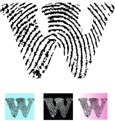 Fingerprint Alphabet Letter W vector image vector image