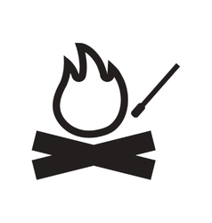 Flat icon in black and white style fire and match vector