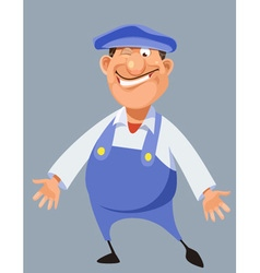 Funny cartoon male worker in blue overalls and cap vector