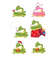 funny girl snake set vector image