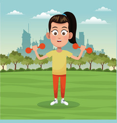 girl sport active park city background vector image vector image