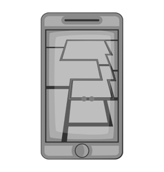 Gps map on phone icon gray monochrome style vector