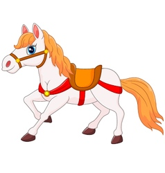 Happy horse cartoonisolated on white background vector image vector image