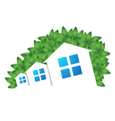 Houses and green leaves vector