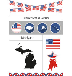 map of michigan set of flat design icons vector image