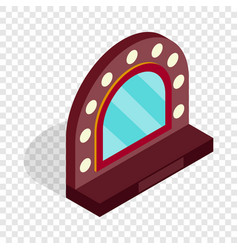Mirror with bulbs for makeup isometric icon vector