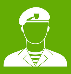 Modern army soldier icon green vector