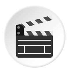 Movie clapper icon flat style vector