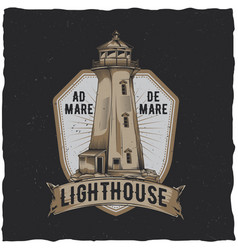 Nautical t-shirt label design with lighthouse vector