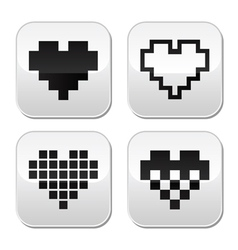 Pixel heart buttons set - love dating onli vector image