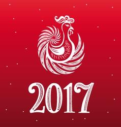 Rooster year openwork design vector