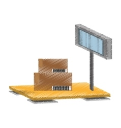 scale weight boxes delivery cargo vector image