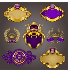Set of gold vip vector image vector image