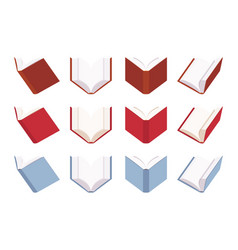 set of open empty books in red and blue color vector image