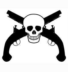 skull and pistols vector image