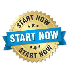 Start now round isolated gold badge vector