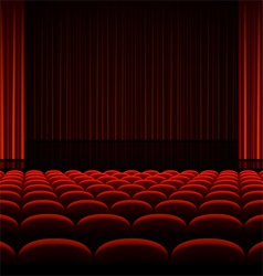 Theater interior with red curtains and seats vector