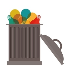 Trash can with bulbs inside vector
