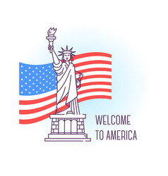 usa monument statue of liberty new york landmark vector image