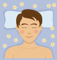 young man having relaxing flower treatment in spa vector image vector image