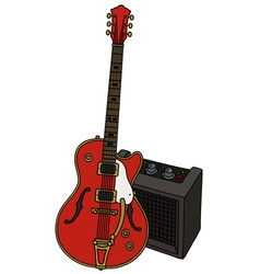 Classic electric guitar and the combo vector