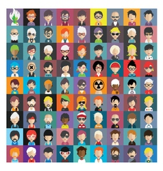 Set of people icons in flat style with faces 15 b vector
