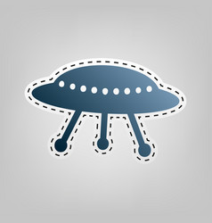 Ufo simple sign  blue icon with outline vector