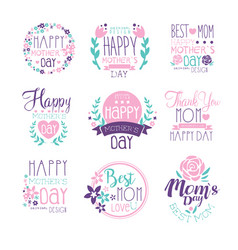 Happy mothers day hand drawn label vector