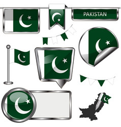 Glossy icons with flag of pakistan vector