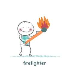 firefighter holding a burning stick vector image