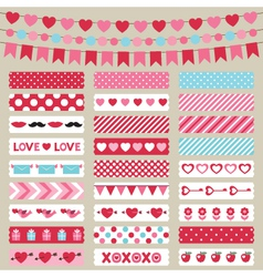 Valentines day decoration and washi tapes vector