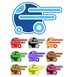 set of color cartoon cars vector image