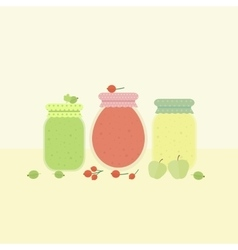 Card with glass jars of jam vector