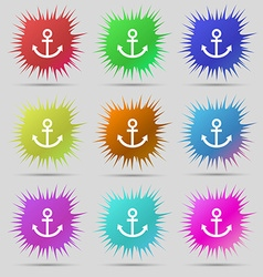 Anchor icon nine original needle buttons vector