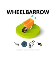 Wheelbarrow icon in different style vector