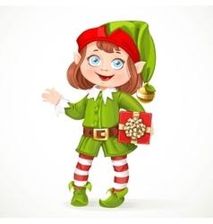 Cute little girl Santa elf with gift vector image