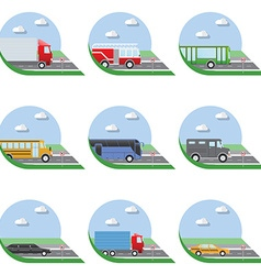 Flat design city Transportation Flat Icons Trucks vector image