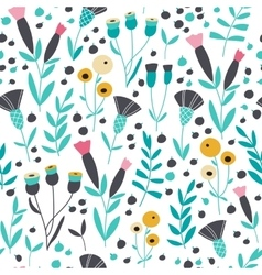 Seamless bright scandinavian floral pattern vector