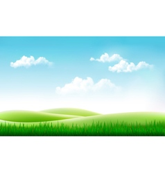 Nature summer background with green grass and blue vector