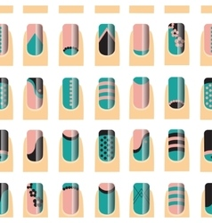 Pattern with various of nail designs vector