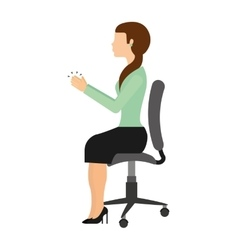 Businesswoman sitting in a chair isolated icon vector