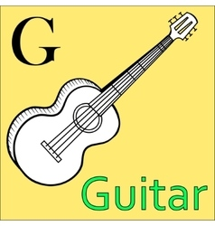 G letter alphabet coloring book guitar vector