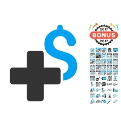 Add dollar icon with 2017 year bonus pictograms vector