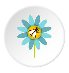 Bee on flower icon circle vector