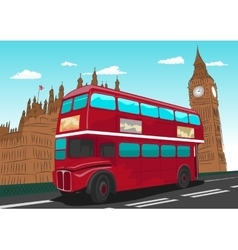 Big ben with red double-decker bus in london uk vector