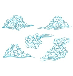 Blue clouds set vector image vector image