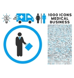 Businessman Rounded Icon With Medical Bonus vector image vector image
