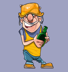 cartoon joyful male worker in a helmet with a vector image