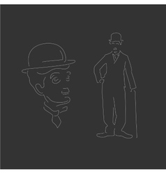 Charlie Chaplin Linear style White vector image vector image