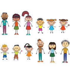 children adulds isolated look up with interes vector image